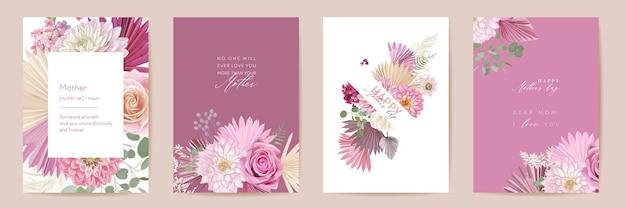 母の日花のグリーティングカード。水彩絵葉書セット。ベクトルバラ、ダリアの花、ヤシの葉のテンプレートデザイン。パンパスグラスフレーム。春の花の花束のタイポグラフィ。女性の現代パンフレット