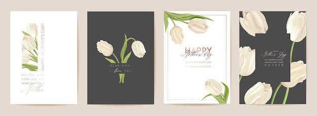 Цветочная открытка на день матери. современная карта мамы и ребенка. весенний букет векторные иллюстрации. приветствие реалистичный шаблон тюльпанов, цветочный фон, современный дизайн летней вечеринки для мам