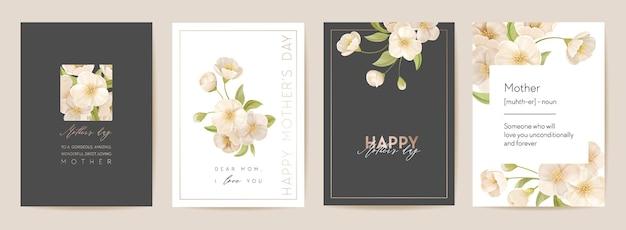 Цветочная весенняя открытка на день матери. приветствие реалистичный шаблон цветы сакуры вишни, современный букет цветов фона векторные иллюстрации. открытка для мамы и ребенка, дизайн летней вечеринки для мам