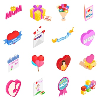 Mother day isometric 3d icons set