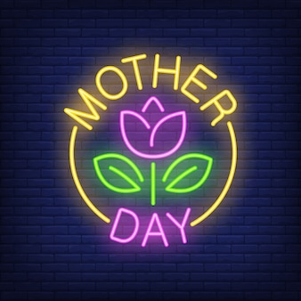 Mother day neon sign. flower with leaves in bright yellow round.
