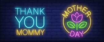 Mother day neon sign. Pink tulip with leaves in yellow circle. Thank you mommy lettering