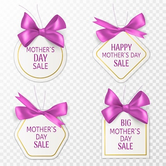 어머니의 날 태그입니다. 분홍색 활과 실크 리본, 특별 소매 배지, 엄마 날 할인 스티커 또는 쿠폰, 휴일 광고 템플릿 마케팅 배너 벡터 격리 세트가 있는 귀여운 판매 레이블