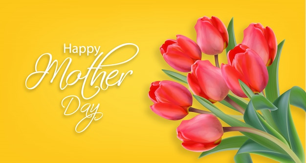 Mother day tulip flowers