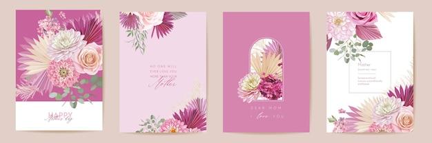 母の日水彩カードセット。グリーティングママミニマルポストカードデザイン。ベクトルバラ、ダリアの花、ヤシの葉のテンプレート。パンパスグラスフレーム。春の花の花束のタイポグラフィ。女性の現代パンフレット