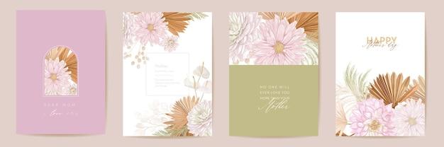 母の日水彩カードセット。グリーティングママミニマルポストカードデザイン。ベクトル熱帯の花、ヤシの葉のテンプレート。ドライパンパスグラスフレーム。春の花の花束のタイポグラフィ。女性の現代パンフレット