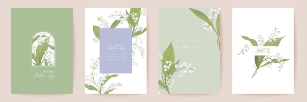 Набор акварельных карт день матери. приветствие мамы минимальный дизайн открытки. шаблон цветы белые лилии вектор. весенний цветочный букет типографии. современная брошюра женщина