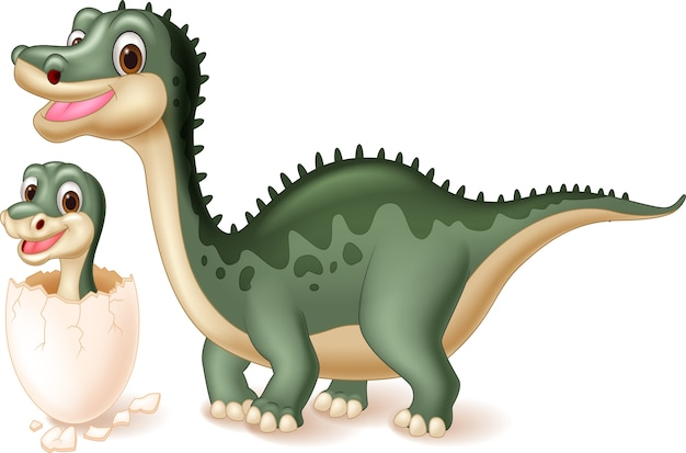 Mother dinosaur with baby hatching