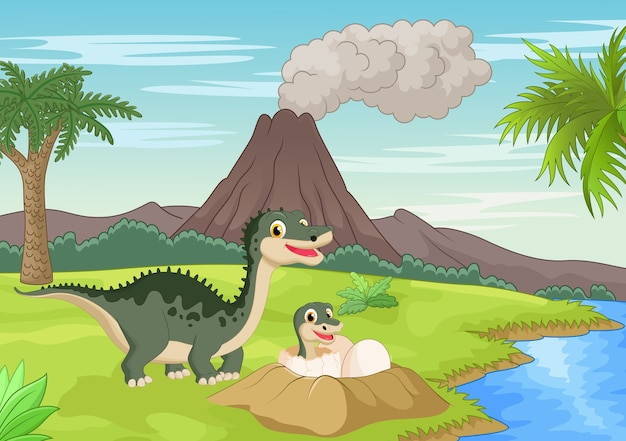 아기 부화와 어머니 공룡