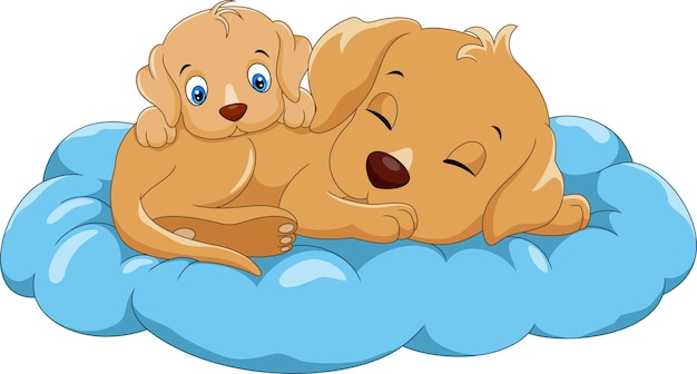 かわいい子犬と母犬