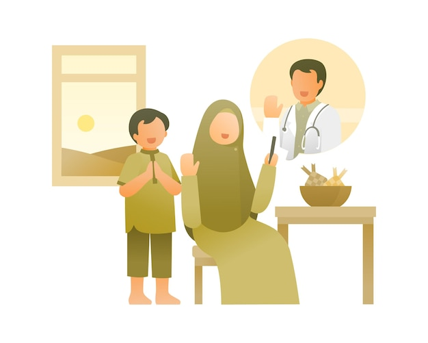 병원 그림에서 의사로 일하는 아버지와 화상 통화를하는 어머니