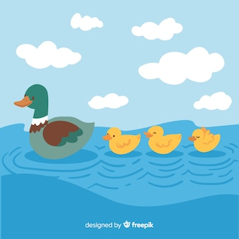 Mother duck and ducklings cartoon concept