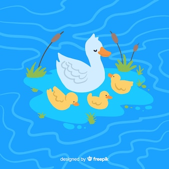 Mother duck and ducklings cartoon drawing