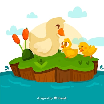 Mother duck and ducklings flat design
