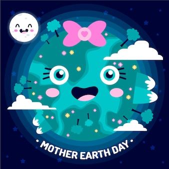 Mother earth day background inflat design style