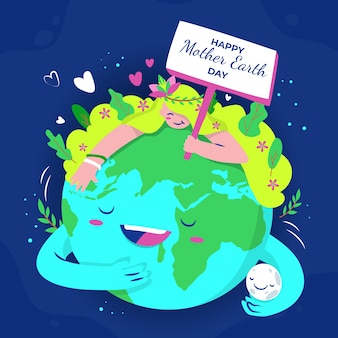 Mother earth day backgroundhand drawn