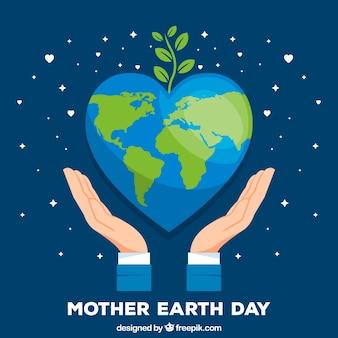 Mother earth day background with world in flat style