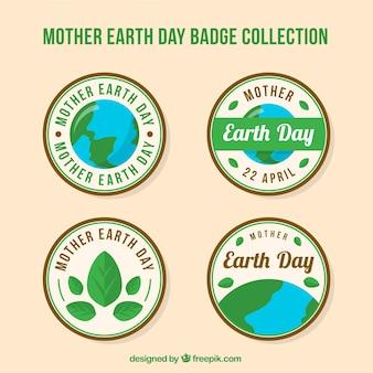 Collezione di badge di mamma terra giorno