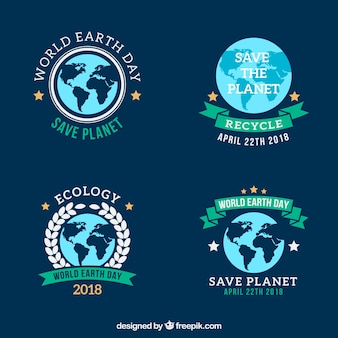 Mother earth day badges collection in flat style