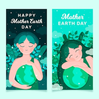 Mother earth day banner cute girl