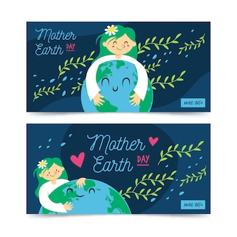 Mother earth day bannerflat designcollection