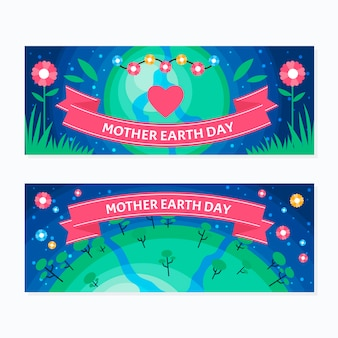 Mother earth day bannerflat designset