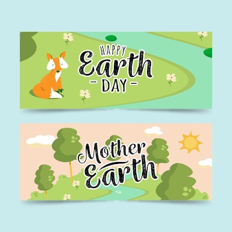 フラットなデザインの母地球の日バナー