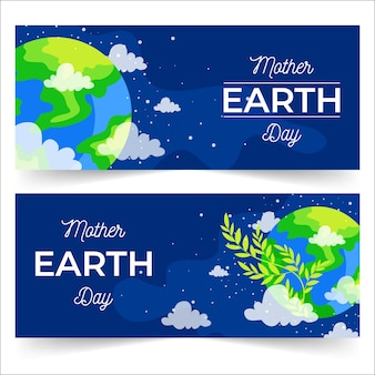 Mother earth day banner with earth and nature