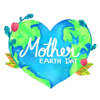 Mother earth day banner with heart shape