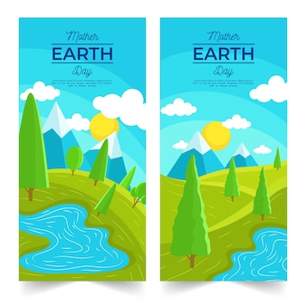 Mother earth day banner with nature landscape