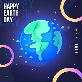 Mother earth day banner with planet earth