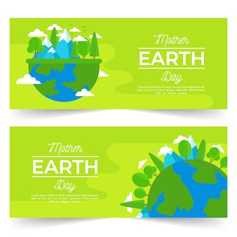 Mother earth day banner with planet and nature
