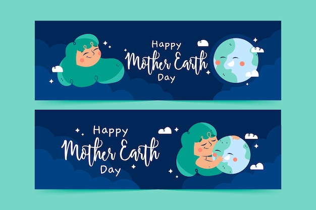 Mother earth day banner with woman hugging planet