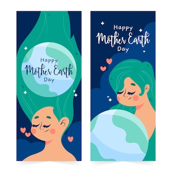 Mother earth day banner with woman and planet