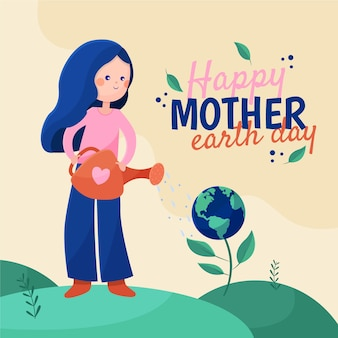 Mother earth day banner with woman watering planet