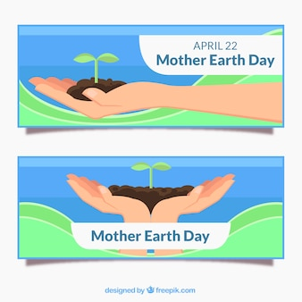 Mother earth day banners in flat design