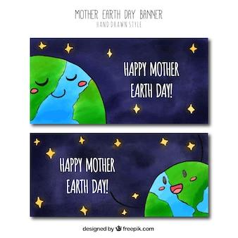 Мать земля день баннеры с планеты земля и звезд