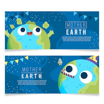 Mother earth day banners with planet