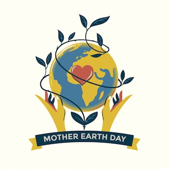 Mother earth day concept hand drawn illustration premium vector