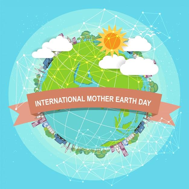Концепция дня матери-земли с глобусом и зеленым цветом.