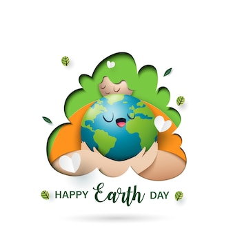 Mother earth day and eco concept paper art style