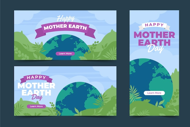 Mother earth day flat banner