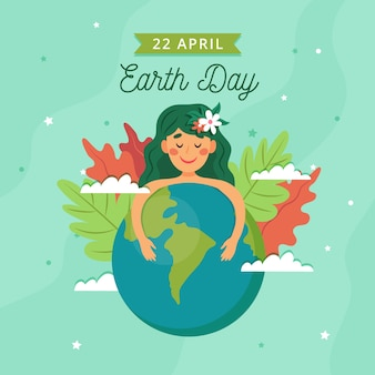 Mother earth day flat design background