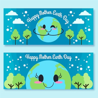 Mother earth day flat design banner set