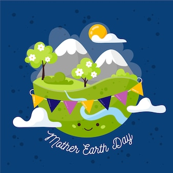Mother earth day flat design style background