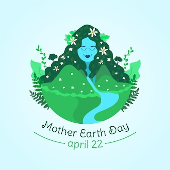Mother earth day flat design wallpaper