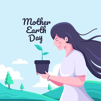 Mother earth day in flat design