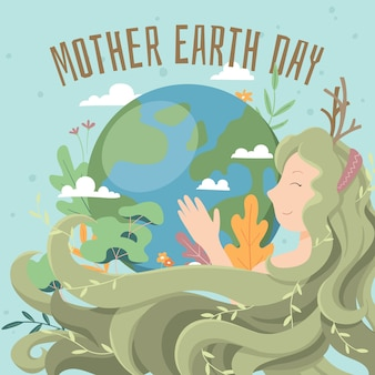 Mother earth day hand drawn background