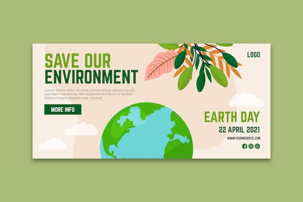Mother earth day horizontal banner template