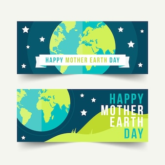 母なる地球デーの水平バナーセット